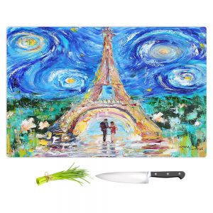 Artistic Kitchen Bar Cutting Boards | Karen Tarlton - Eiffel Tower Starry Night