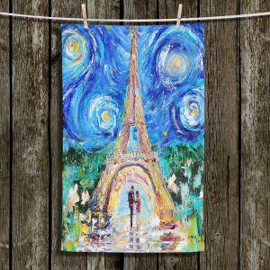 Unique Hanging Tea Towels | Karen Tarlton - Eiffel Tower Starry Night | Paris Night Sky