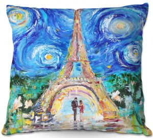 Throw Pillows Decorative Artistic | Karen Tarlton - Eiffel Tower Starry Night