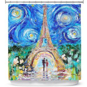 Unique Shower Curtain from DiaNoche Designs by Karen Tarlton - Eiffel Tower Starry Night