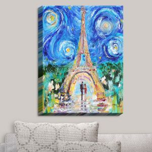 Decorative Canvas Wall Art | Karen Tarlton - Eiffel Tower Starry Night | Paris Night Sky