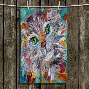 Unique Hanging Tea Towels | Karen Tarlton - Green Eyes | Cat Abstract