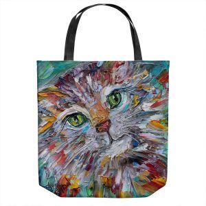 Unique Shoulder Bag Tote Bags | Karen Tarlton - Green Eyes | Cat Abstract