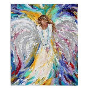 Decorative Fleece Throw Blankets | Karen Tarlton - Guardian Angel 2 | Spiritual People