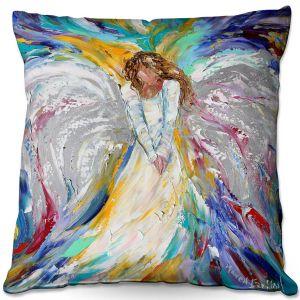 Decorative Outdoor Patio Pillow Cushion   Karen Tarlton - Guardian Angel 2   Spiritual People