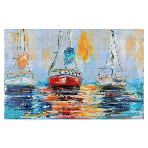 Decorative Floor Coverings | Karen Tarlton - Harbor Boats Sunrise