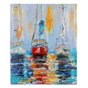 Decorative Fleece Throw Blankets | Karen Tarlton - Harbor Boats Sunrise