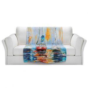 Artistic Sherpa Pile Blankets | Karen Tarlton - Harbor Boats Sunrise