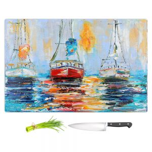Artistic Kitchen Bar Cutting Boards | Karen Tarlton - Harbor Boats Sunrise