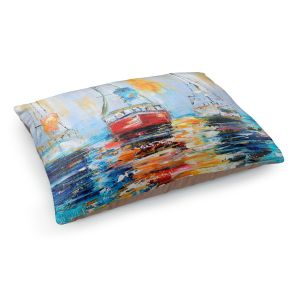 Decorative Dog Pet Beds | Karen Tarlton - Harbor Boats Sunrise