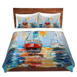 Artistic Duvet Covers and Shams Bedding | Karen Tarlton - Harbor Boats Sunrise