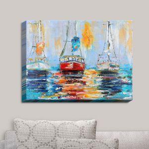 Decorative Canvas Wall Art | Karen Tarlton - Harbor Boats Sunrise | Waterfront Boats