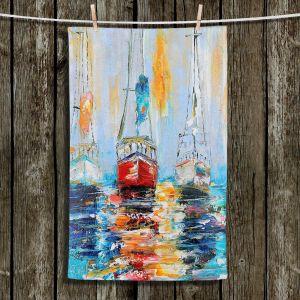 Unique Hanging Tea Towels | Karen Tarlton - Harbor Boats Sunrise | Waterfront Boats