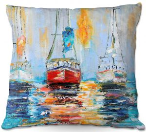Decorative Outdoor Patio Pillow Cushion | Karen Tarlton - Harbor Boats Sunrise