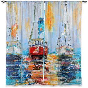 Decorative Window Treatments | Karen Tarlton - Harbor Boats Sunrise