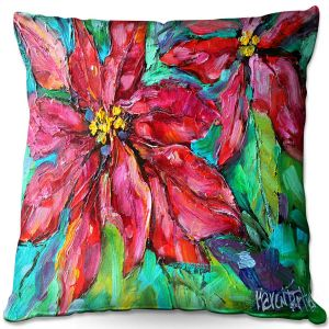 Decorative Outdoor Patio Pillow Cushion | Karen Tarlton - Holiday Poinsettia | Christmas Flower