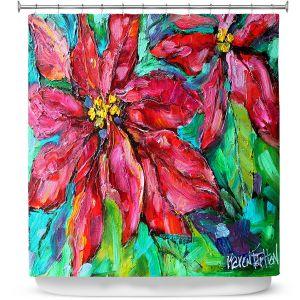 Premium Shower Curtains | Karen Tarlton - Holiday Poinsettia