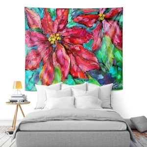 Artistic Wall Tapestry | Karen Tarlton - Holiday Poinsettia | Christmas Flower