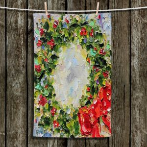 Unique Bathroom Towels   Karen Tarlton - Holiday Wreath