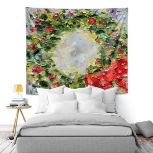 Artistic Wall Tapestry | Karen Tarlton - Holiday Wreath | Christmas Wreath