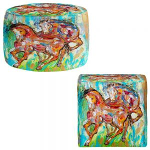 Round and Square Ottoman Foot Stools | Karen Tarlton - Horse Play II