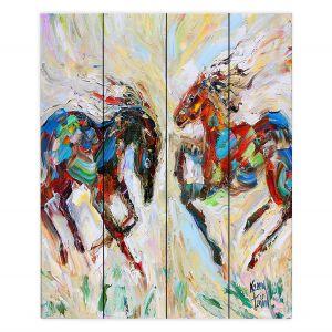 Decorative Wood Plank Wall Art | Karen Tarlton - Horse Play III | Nature Animals Horses