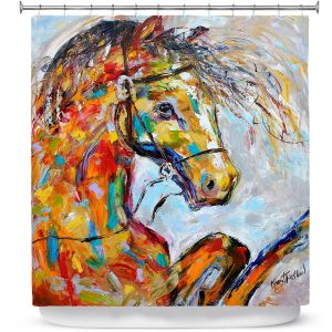 Unique Shower Curtain XL from DiaNoche Designs by Karen Tarlton - Horse Portrait