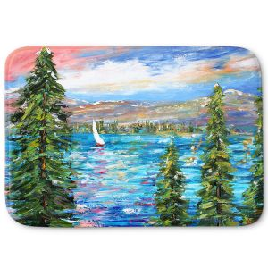 Decorative Bathroom Mats | Karen Tarlton - Lake Tahoe Sunset | Mountain Sailing Sailboat