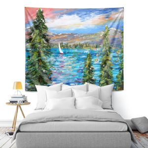 Artistic Wall Tapestry | Karen Tarlton - Lake Tahoe Sunset | Mountain Sailing Sailboat