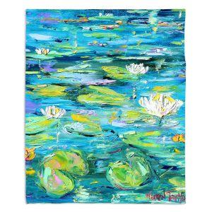 Decorative Fleece Throw Blankets | Karen Tarlton - Lily Pond | Nature Water Lily