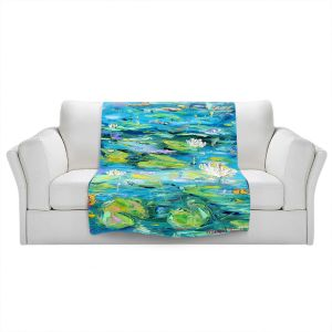 Artistic Sherpa Pile Blankets | Karen Tarlton - Lily Pond | Nature Water Lily