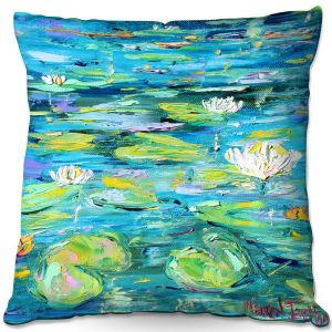 Throw Pillows Decorative Artistic   Karen Tarlton - Lily Pond   Nature Water Lily