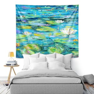 Artistic Wall Tapestry   Karen Tarlton - Lily Pond   Nature Water Lily