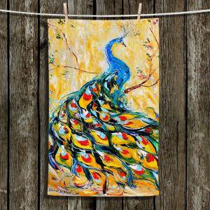 Unique Hanging Tea Towels | Karen Tarlton - Luminous Peacock I | Peacock Bird