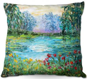 Unique Outdoor Pillow 18x18 from DiaNoche Designs by Karen Tarlton - Meditation Pond