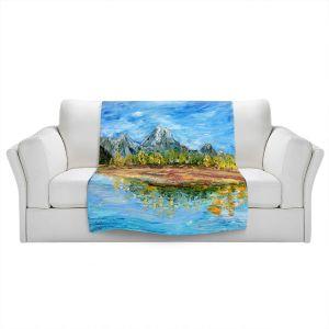 Artistic Sherpa Pile Blankets | Karen Tarlton - Mountain Lake | Forest Mountain Nature Lake