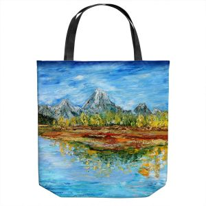 Unique Shoulder Bag Tote Bags   Karen Tarlton - Mountain Lake   Forest Mountain Nature Lake