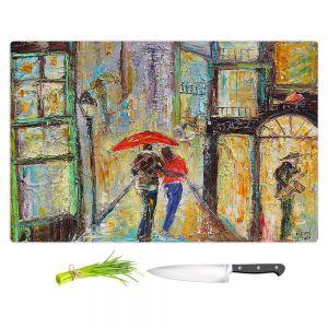 Artistic Kitchen Bar Cutting Boards | Karen Tarlton - New Orleans Rain 2 | Weather umbrella city cityscape Louisiana impression