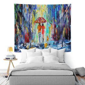 Artistic Wall Tapestry | Karen Tarlton Rainy Night Abstract