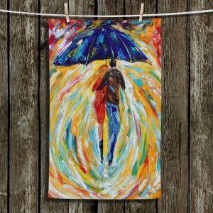 Unique Bathroom Towels | Karen Tarlton - Rainy Romance | Lovers Walking Umbrella