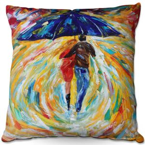 Throw Pillows Decorative Artistic | Karen Tarlton - Rainy Romance | Lovers Walking Umbrella