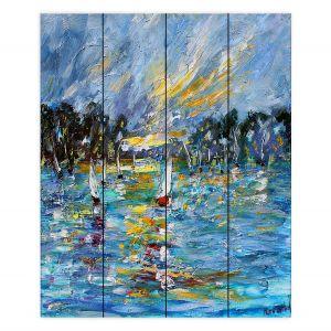 Decorative Wood Plank Wall Art | Karen Tarlton - Regatta Sailing | Water Boats Nature