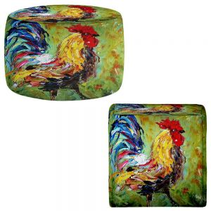 Round and Square Ottoman Foot Stools | Karen Tarlton - Rooster II