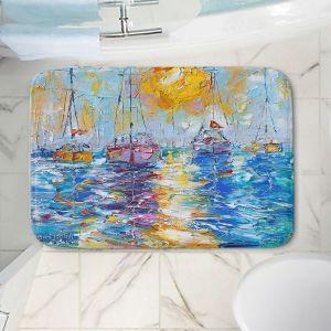 Decorative Bathroom Mats | Karen Tarlton - Sailboats Anchored | sea water bay harbor ocean