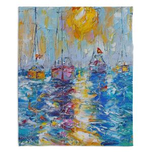 Decorative Fleece Throw Blankets | Karen Tarlton - Sailboats Anchored | sea water bay harbor ocean