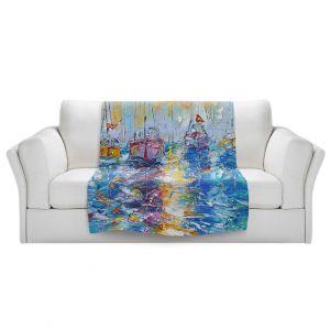 Artistic Sherpa Pile Blankets | Karen Tarlton - Sailboats Anchored | sea water bay harbor ocean