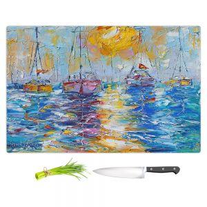 Artistic Kitchen Bar Cutting Boards | Karen Tarlton - Sailboats Anchored | sea water bay harbor ocean