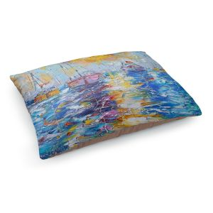 Decorative Dog Pet Beds | Karen Tarlton - Sailboats Anchored | sea water bay harbor ocean