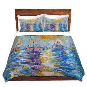 Artistic Duvet Covers and Shams Bedding | Karen Tarlton - Sailboats Anchored | sea water bay harbor ocean