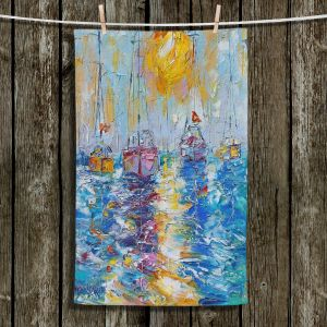Unique Hanging Tea Towels | Karen Tarlton - Sailboats Anchored | sea water bay harbor ocean